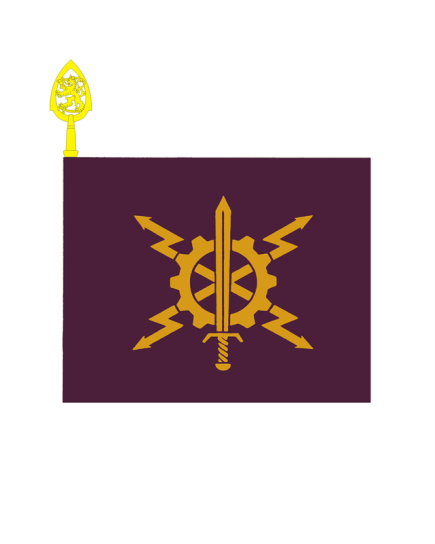 Viestikoulun lippu on violetti ja siinä on keltainen miekka jonka ympärillä keltainen ratas ja keskeltä lähtee kulmiin päin neljä keltaista salamakuvioista nuolta.