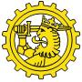 Puolustusvoimien logistiikkalaitoksen tunnus on ratas jonka sisällä on Suomi-leijona.